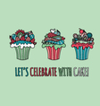 Cupcakes Hand Drawn Doodle Green vector image