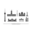 famous monuments and buildings in berlin - icon vector image