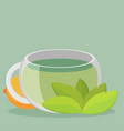 green tea with lemon flat vector image