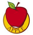 red apple label design vector image