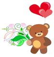 teddy bear with flowers vector image