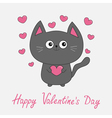 Happy Valentines Day pink text Gray contour cat vector image