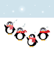 cute christmas singing penguins vector image vector image