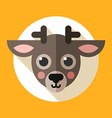Face of little reindeer in white circle and yellow vector image