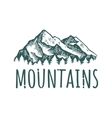 Mountain hand drawn retro logotype with lettering vector image