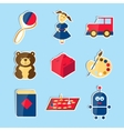 Set of icons for toys store vector image