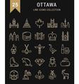 Set Flat Line Icons Ottawa vector image