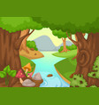 forest with a river background vector image
