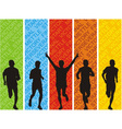Athletes on a colored background vector image
