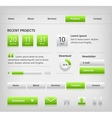 Web site design elements with green buttons hover vector image