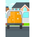 Background of delivery truck with an open door and vector image