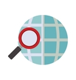 blue sphere map with magnifying glass vector image