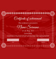 certificate template in red colors with white text vector image
