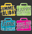 color suitcase logo travel logo set vector image