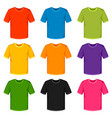 colored t-shirts templates set of promotional and vector image