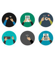 flat icons with working hands vector image