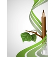 Wooden Pencil With Leaf vector image