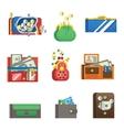 Open purse wallet set vector image