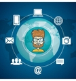cartoon man connection internet global graphic vector image