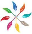 elegant feather emblem design vector image