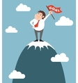 Businessman character on the top of the mountain vector image
