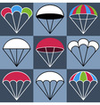 Colored Parachute Icons Set vector image