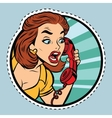 Comic woman talking on retro phone vector image