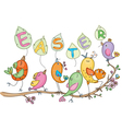 Cute singing birds vector image