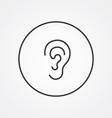 ear outline symbol dark on white background logo vector image
