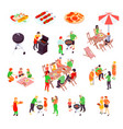 family barbecue picnic isometric icons vector image