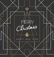 Merry christmas happy new year tree art deco line vector image