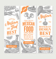 vintage mexican food vertical banners vector image