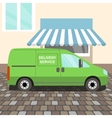 Green delivery Van vector image