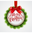 Holiday round frame Christmas balls vector image