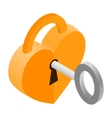 Key and heart isometric 3d icon vector image