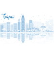 Outline Taipei skyline with blue buildings vector image