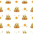 Funny cartoon yellow alien character texture vector image