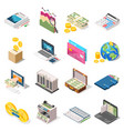 accounting isometric icons set vector image