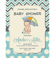 Beautiful baby boy shower card with little baby vector image