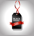 black friday gradient tag with red ribbon sale vector image