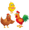 cartoon chick chicken and rooster vector image