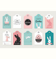 easter tag collection with bunnies and easter eggs vector image