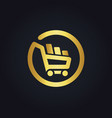 shopping cart basket buy online gold logo vector image