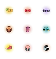 Subculture hipster icons set pop-art style vector image