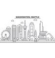 washington seattle architecture line skyline vector image