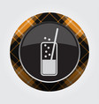 button orange black tartan - carbonated drink vector image