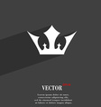 Crown icon symbol Flat modern web design with long vector image