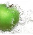 Green apple with water splash Gradient vector image