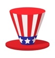Hat in the USA flag colors cartoon icon vector image