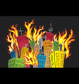 Cartoon buildings in fire flames vector image